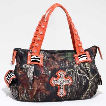 Mossy Oak Camouflage Fashion Shoulder Bag w/ Croco Trim and Rhinestone Cross - Orange