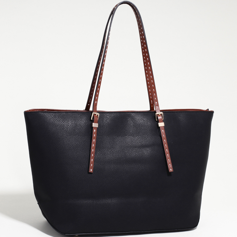 Women's Large Classic Tote with Coffee Trim & Stitched Straps-Black