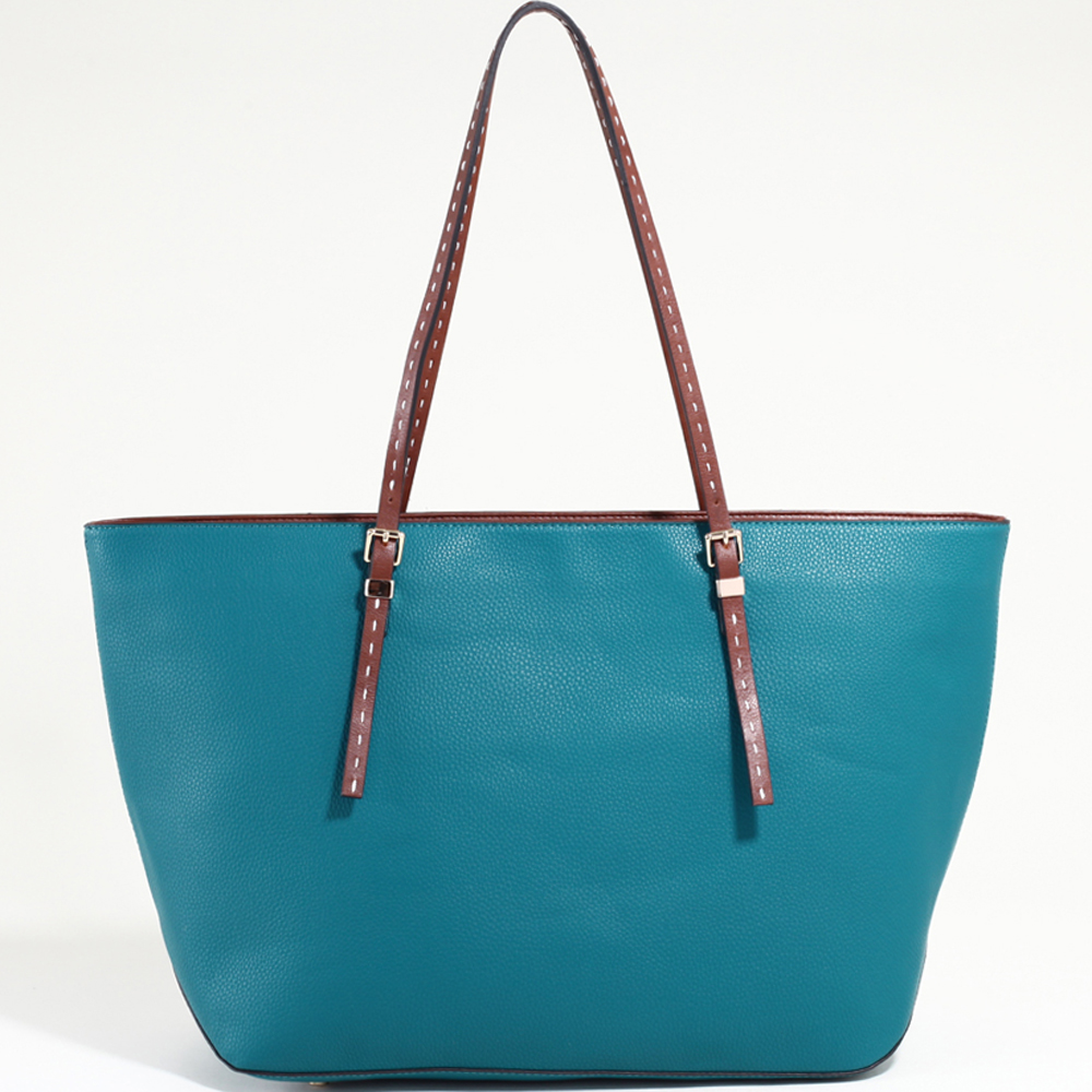 Women's Large Classic Tote with Coffee Trim & Stitched Straps-Blue