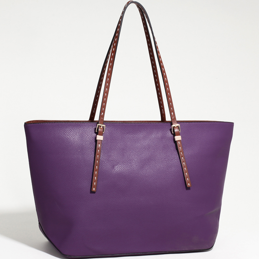 Women's Large Classic Tote with Coffee Trim & Stitched Straps-Purple