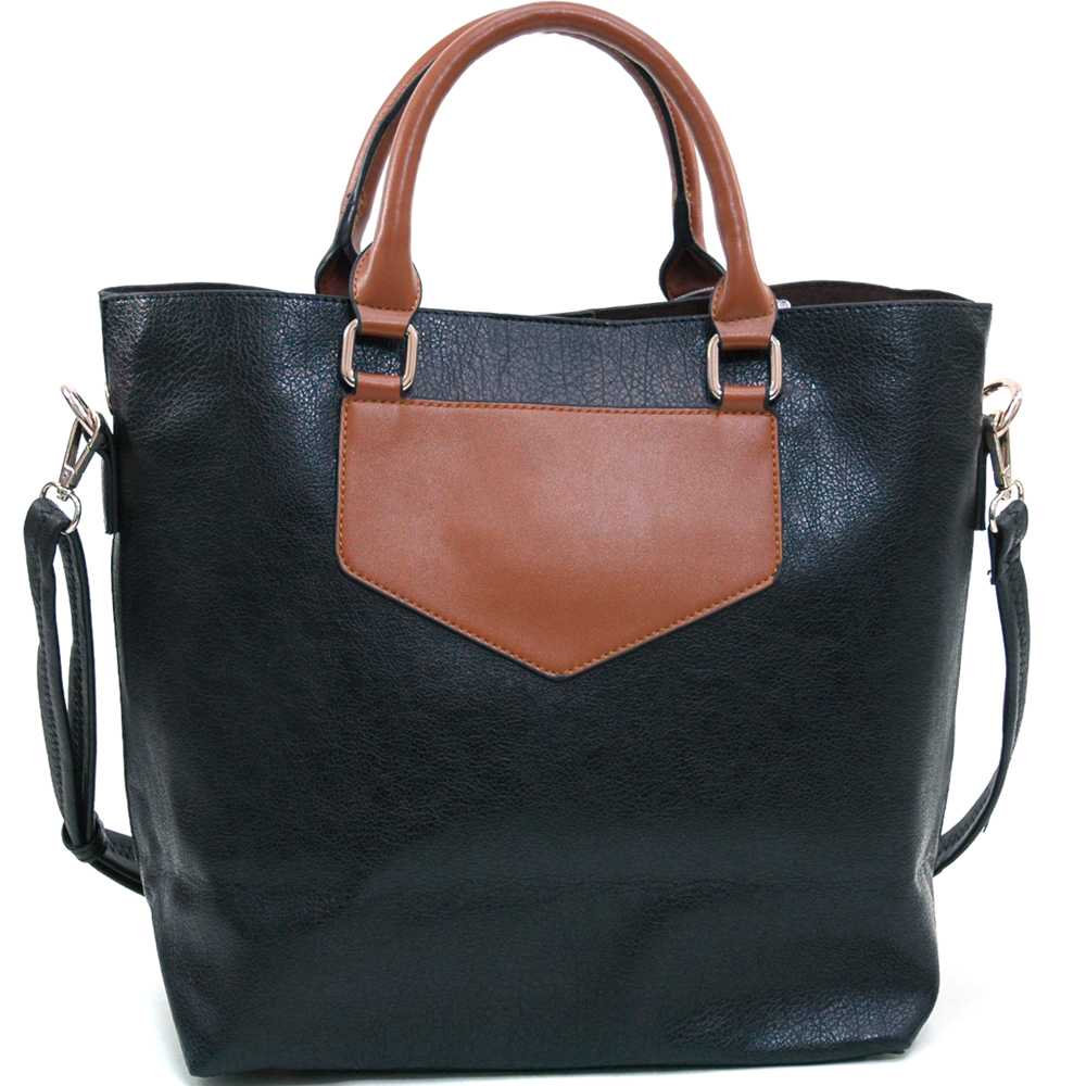 Alyssa Women's 2-in-1 Fashion Tote in Two-Toned Style-Black/Brown