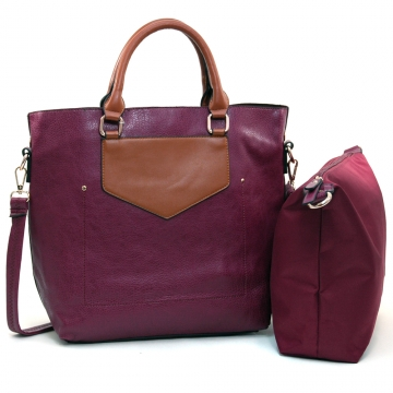 Alyssa Women's 2-in-1 Fashion Tote in Two-Toned Style-Purple/Brown