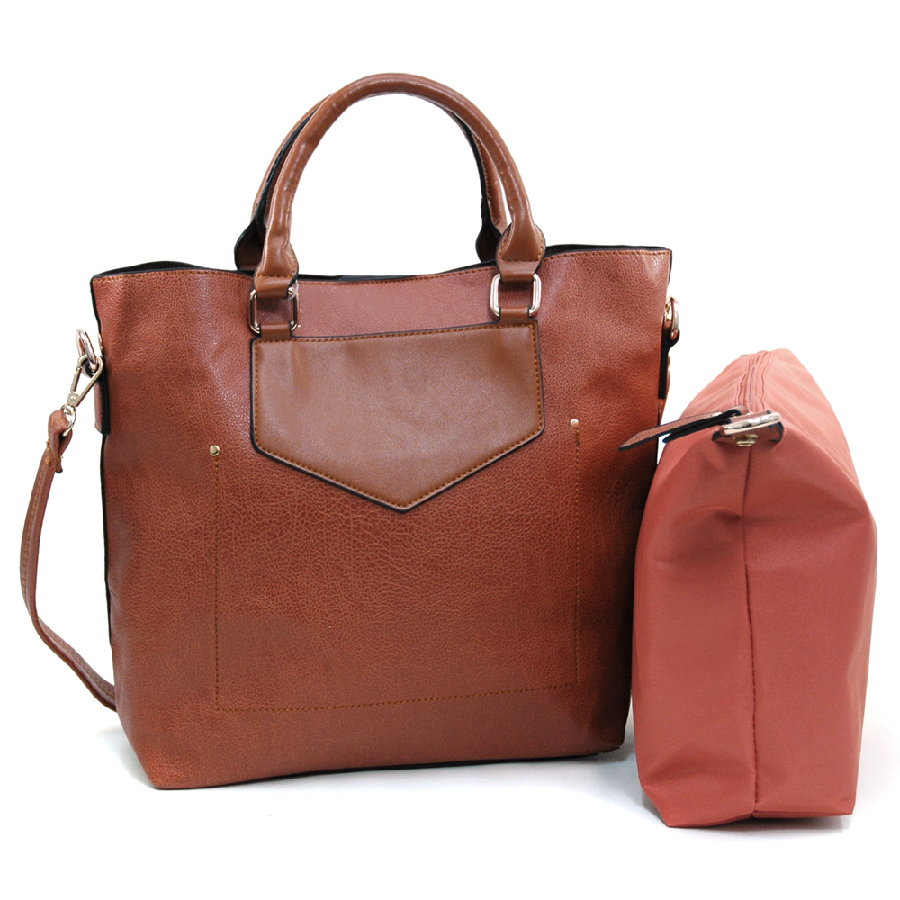 Alyssa Women's 2-in-1 Fashion Tote in Two-Toned Style-Brown/Brown