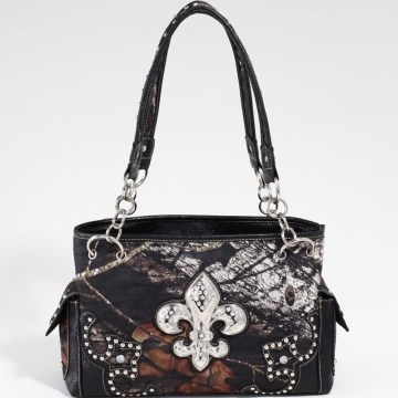 Mossy Oak Studded Camouflage Shoulder Bag with Rhinestone Fleur de Lis & Floral Trim-Camo/Black