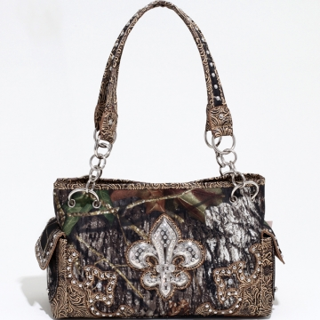 Mossy Oak Studded Camouflage Shoulder Bag with Rhinestone Fleur de Lis & Floral Trim-Camo/Tan