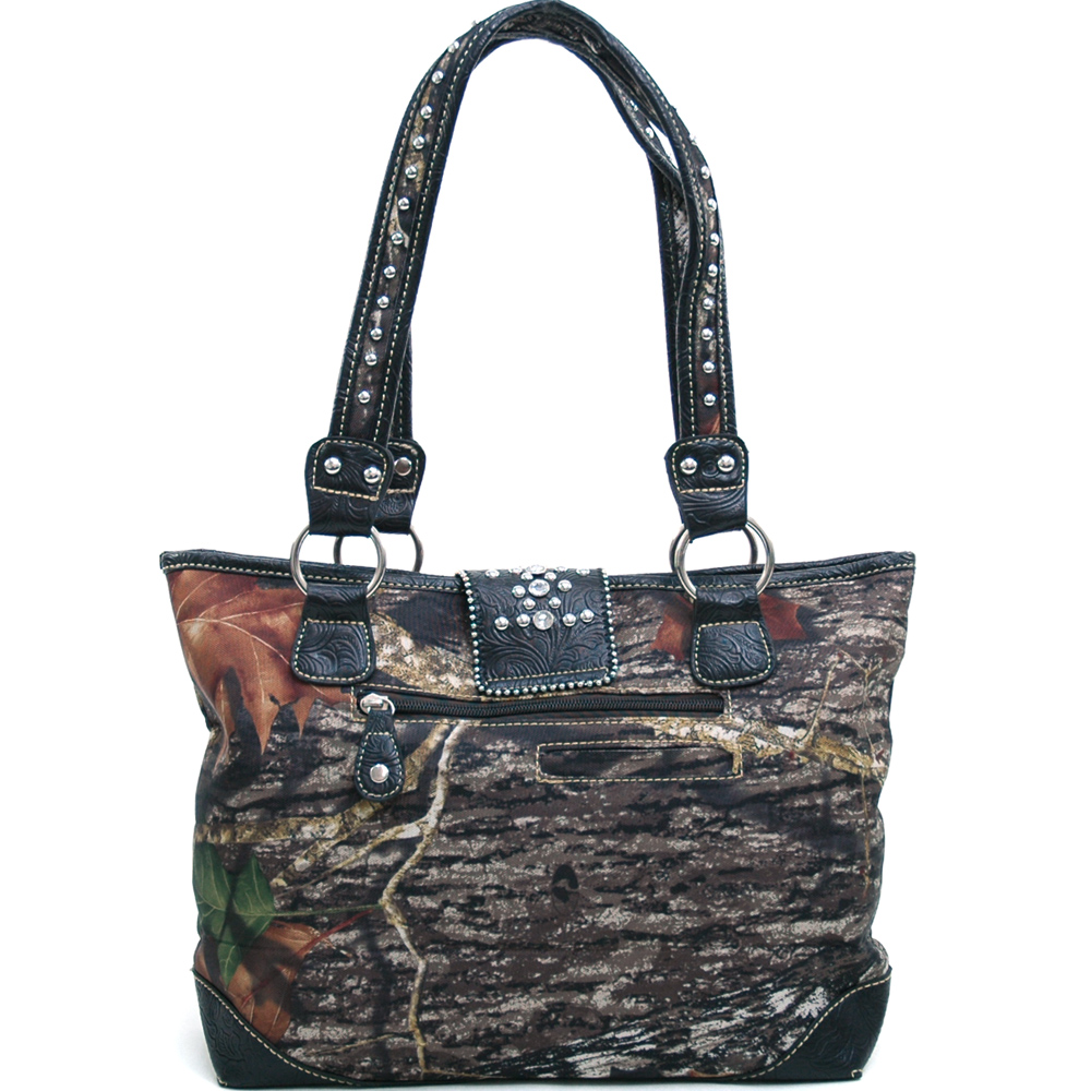 Mossy Oak Studded Camouflage Shoulder Bag with Rhinestone Buckle & Floral Trim-Camo/Black