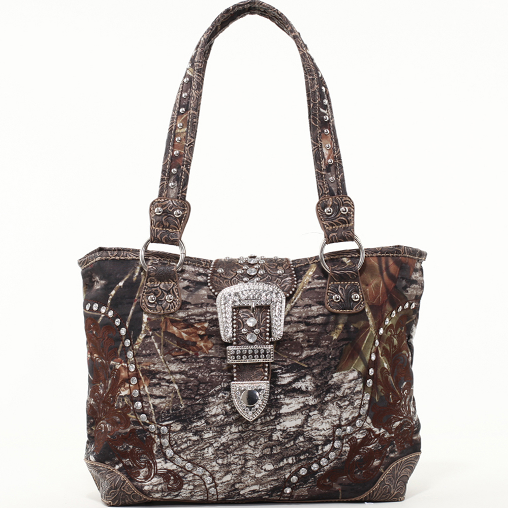 Mossy Oak Studded Camouflage Shoulder Bag with Rhinestone Buckle & Floral Trim-Camo/Coffee