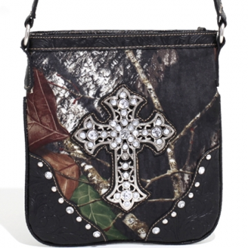 Mossy Oak Studded Camouflage Messenger Bag with Rhinestone Cross & Floral Trim-Camo/Black