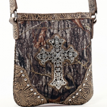 Mossy Oak Studded Camouflage Messenger Bag with Rhinestone Cross & Floral Trim-Camo/Tan
