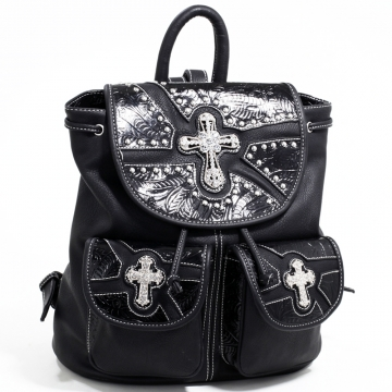 Women's Western Style Backpack w/ Rhinestone Cross & Floral Trim - Black/Black