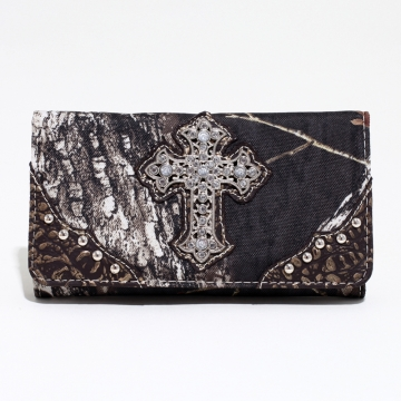 Mossy Oak ® Camouflage Tri-fold Wallet w/ Rhinestone Cross & Croco Trim - Gold