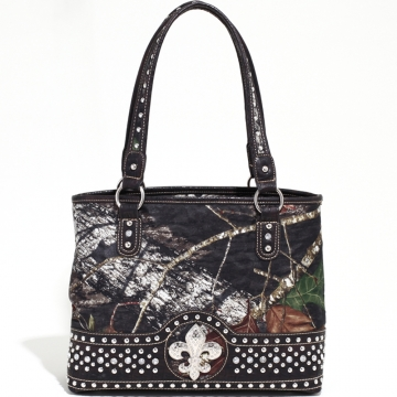 Mossy Oak Studded Camouflage Shoulder Bag w/ Fleur de Lis & Croco Trim - Camo/Coffee