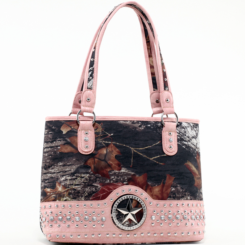 Mossy Oak® Arctic Camo Star & Croco Trim Shoulder Bag