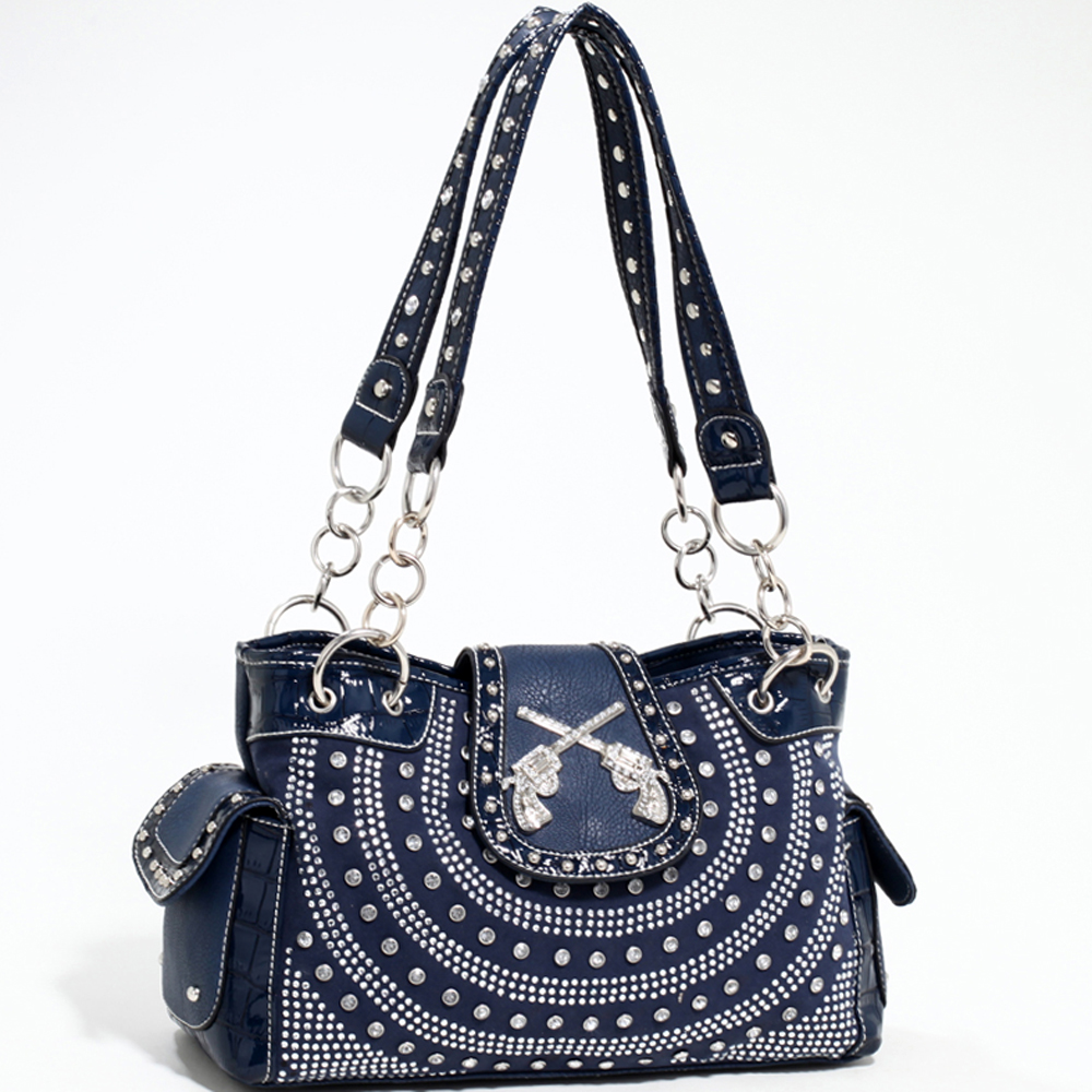 Love Creek Western Rhinestone Studded Shoulder Bag with Dual Six-Shooter Adornmen-Navy Blue