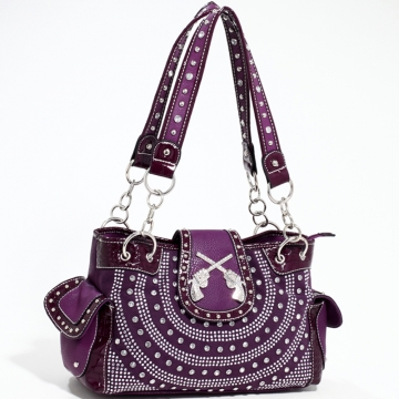 Love Creek Western Rhinestone Studded Shoulder Bag with Dual Six-Shooter Adornmen-Purple