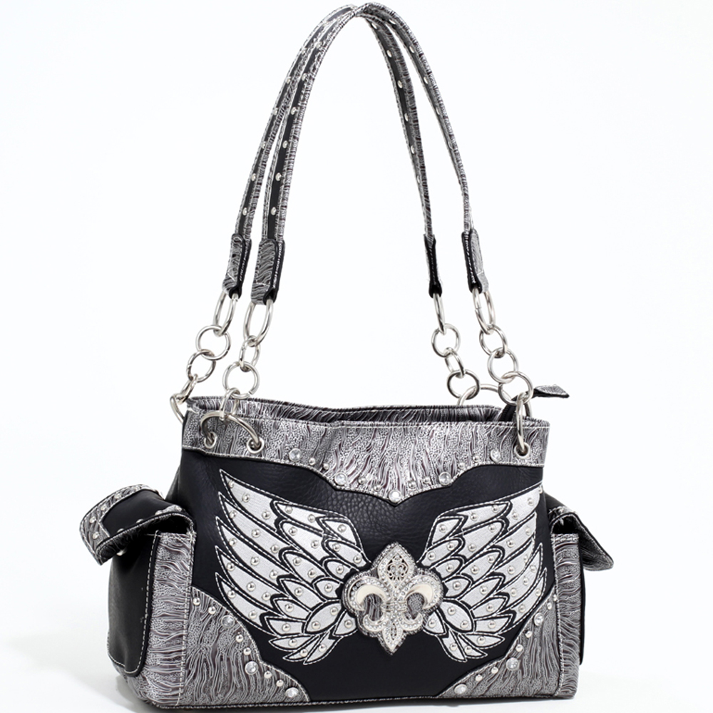 Love Creek Women's Western Rhinestone Studded Shoulder Bag with Fleur de Lis adornment-Black