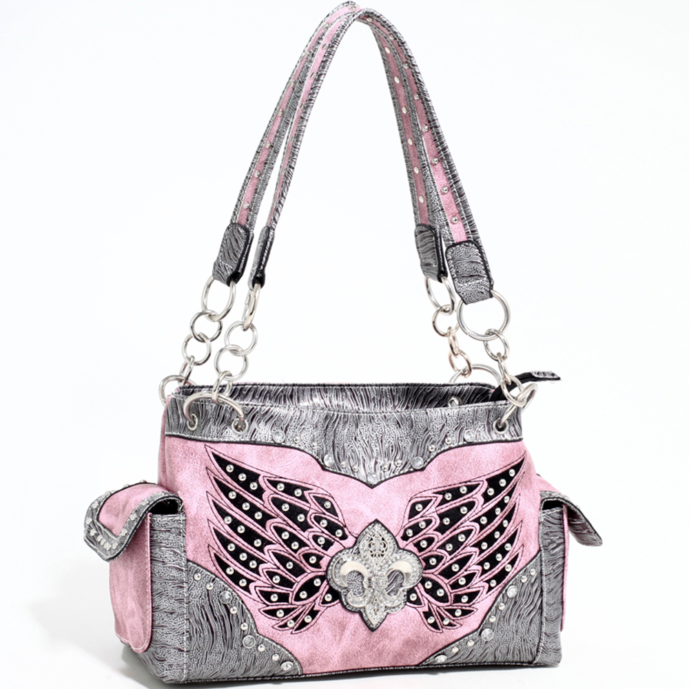 Love Creek Women's Western Rhinestone Studded Shoulder Bag with Fleur de Lis adornment-Light Pink
