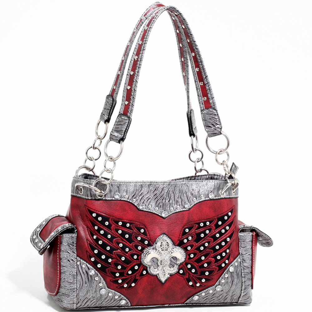 Love Creek Women's Western Rhinestone Studded Shoulder Bag with Fleur de Lis adornment-Red