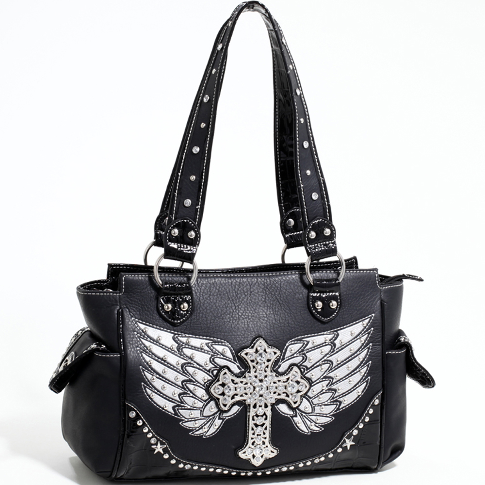 Love Creek Western Rhinestone Studded Shoulder Bag with Cross Adornment-Black