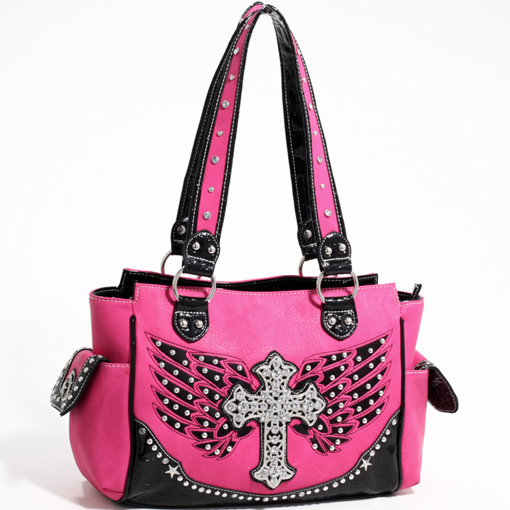 Love Creek Western Rhinestone Studded Shoulder Bag with Cross Adornment-Fuchsia