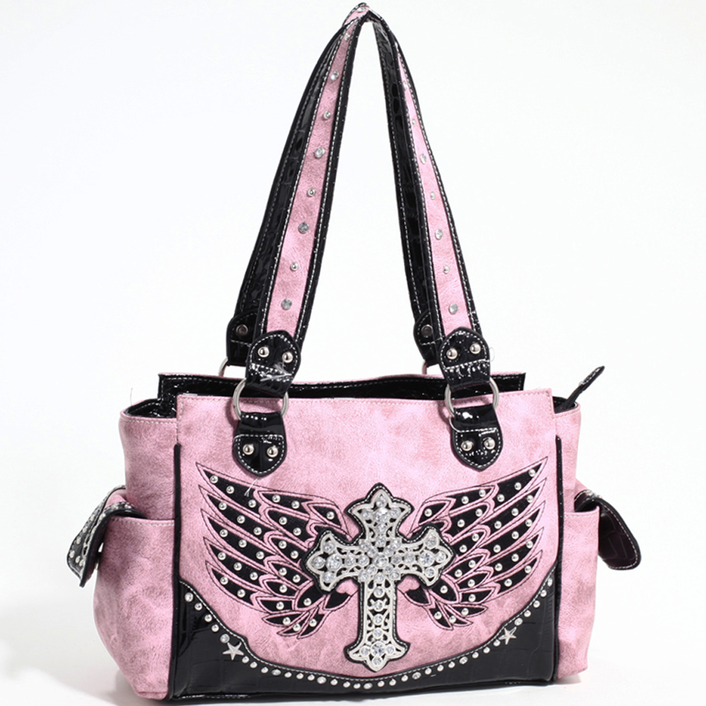 Love Creek Western Rhinestone Studded Shoulder Bag with Cross Adornment-Light Pink