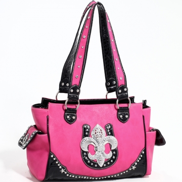 Love Creek Western Rhinestone Studded Shoulder Bag with Fleur de Lis Adornment-Fuchsia