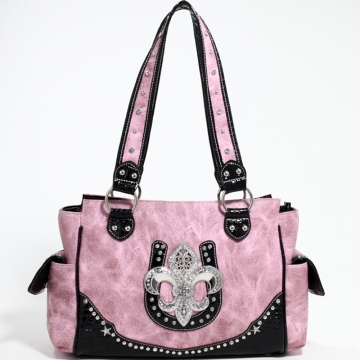 Love Creek Western Rhinestone Studded Shoulder Bag with Fleur de Lis Adornment-Light Pink