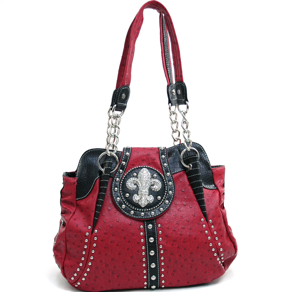 Women's Rhinestone Studded Multi-Animal Texture Shoulder Bag w/ Fleur de Lis Accent - Red