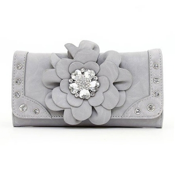 Ustyle Fashion Flower Patch Tri-fold Wallet with Rhinestone Accent - Grey