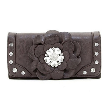 Ustyle Fashion Flower Patch Tri-fold Wallet with Rhinestone Accent - Coffee
