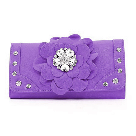 Ustyle Fashion Flower Patch Tri-fold Wallet with Rhinestone Accent