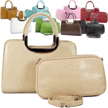 Vani Classic Fine Textured Satchel with Bonus Cosmetic Bag-Beige