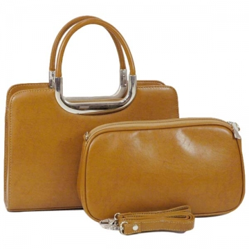 Vani Classic Fine Textured Satchel with Bonus Cosmetic Bag-Tan