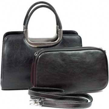 Vani Classic Fine Textured Satchel with Bonus Cosmetic Bag-Black