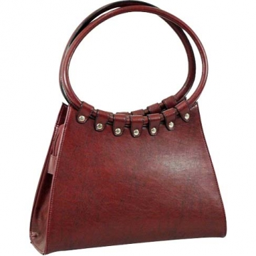 Vani Designer Inspired Fine Textured Shoulder Bag-Burgundy Red