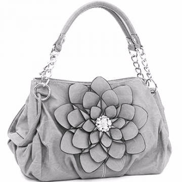 Fashion Flower Patch Shoulder Bag w/ Rhinestone Accent - Grey