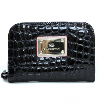 Anais Gvani ® Women's Classic Petite Croco Embossed Zip-Around Wallet - Black