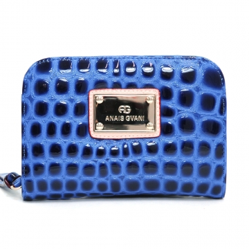 Anais Gvani ® Women's Classic Petite Croco Embossed Zip-Around Wallet - Blue