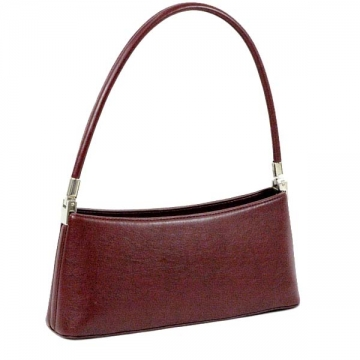 Vani Petite Classic Fine Textured Classic Shoulder Bag-Burgundy Red