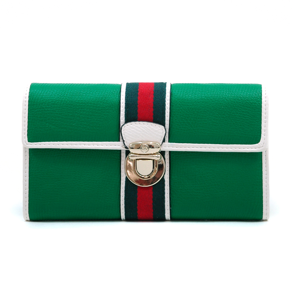 Women's Classic Two-Tone Tri-fold Wallet with Buckle & Stripe Accent