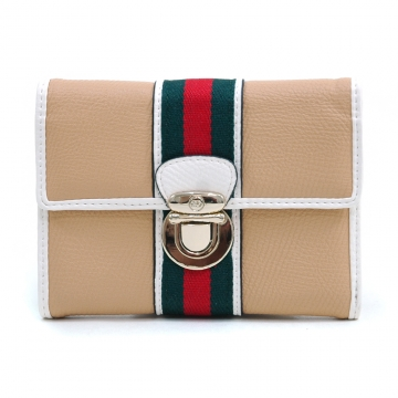 Anais Gvani ® Women's Classic Petite Two-Tone Tri-fold Wallet with Buckle & Stripe Accent - Tan/White