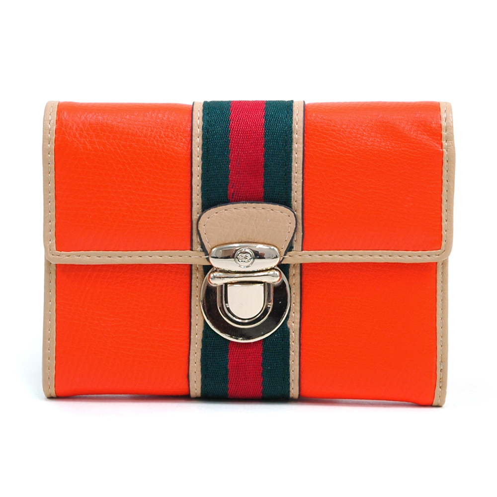 Anais Gvani ® Women's Classic Petite Two-Tone Tri-fold Wallet with Buckle & Stripe Accent