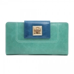 Anais Gvani   Women's Two-toned Genuine Leather Checkbook Wallet with Twist Lock Closure - Light Green Blue