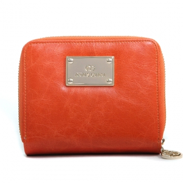 Anais Gvani ® Women's Genuine Leather Block-Color and Zip-Around Wallet - Orange/Brown