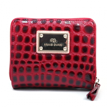 Anais Gvani ® Women's Croco Embossed Bi-fold / Zip-Around Wallet with Gold-kissed Accents - Red