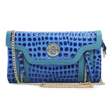 Anais Gvani ® Women's Croco Embossed Clutch with Zipper Decor & Bonus Gold Chain Shoulder Strap - Blue