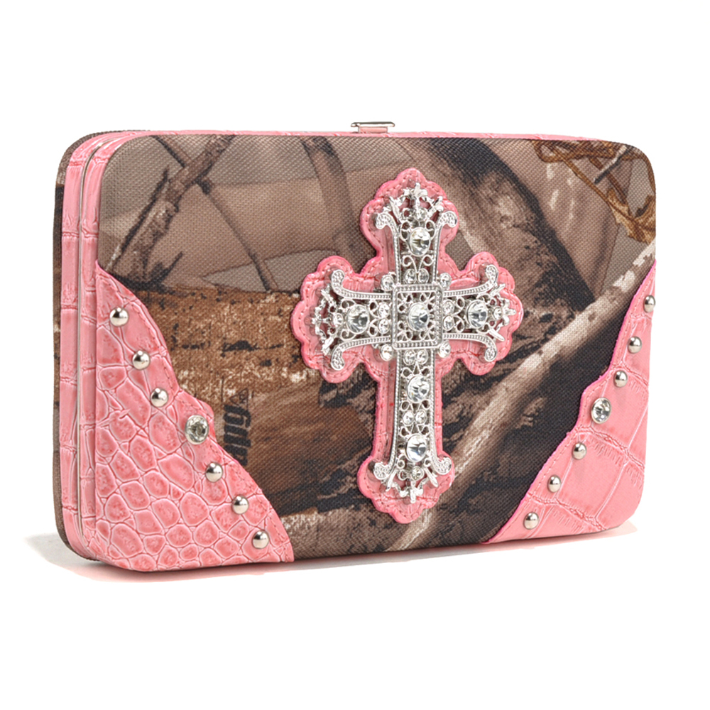Realtree® APG Camo Rhinestone Cross Wallet with Pink Croco Trim