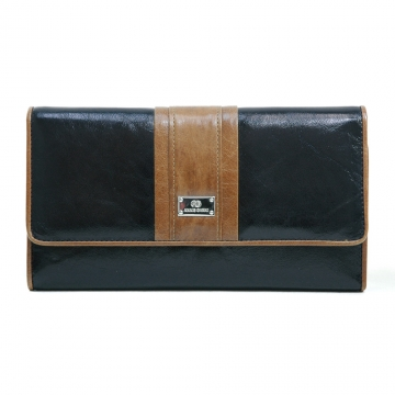 Anais Gvani ® Women's Classic Genuine Leather Tri-fold Wallet with Color Blocking Style - Black/Brown