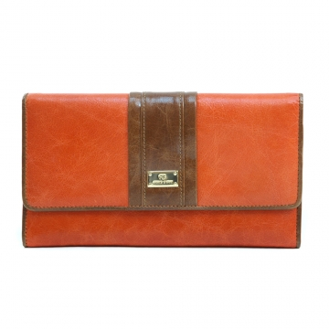 Anais Gvani ® Women's Classic Genuine Leather Tri-fold Wallet with Color Blocking Style - Orange/Brown