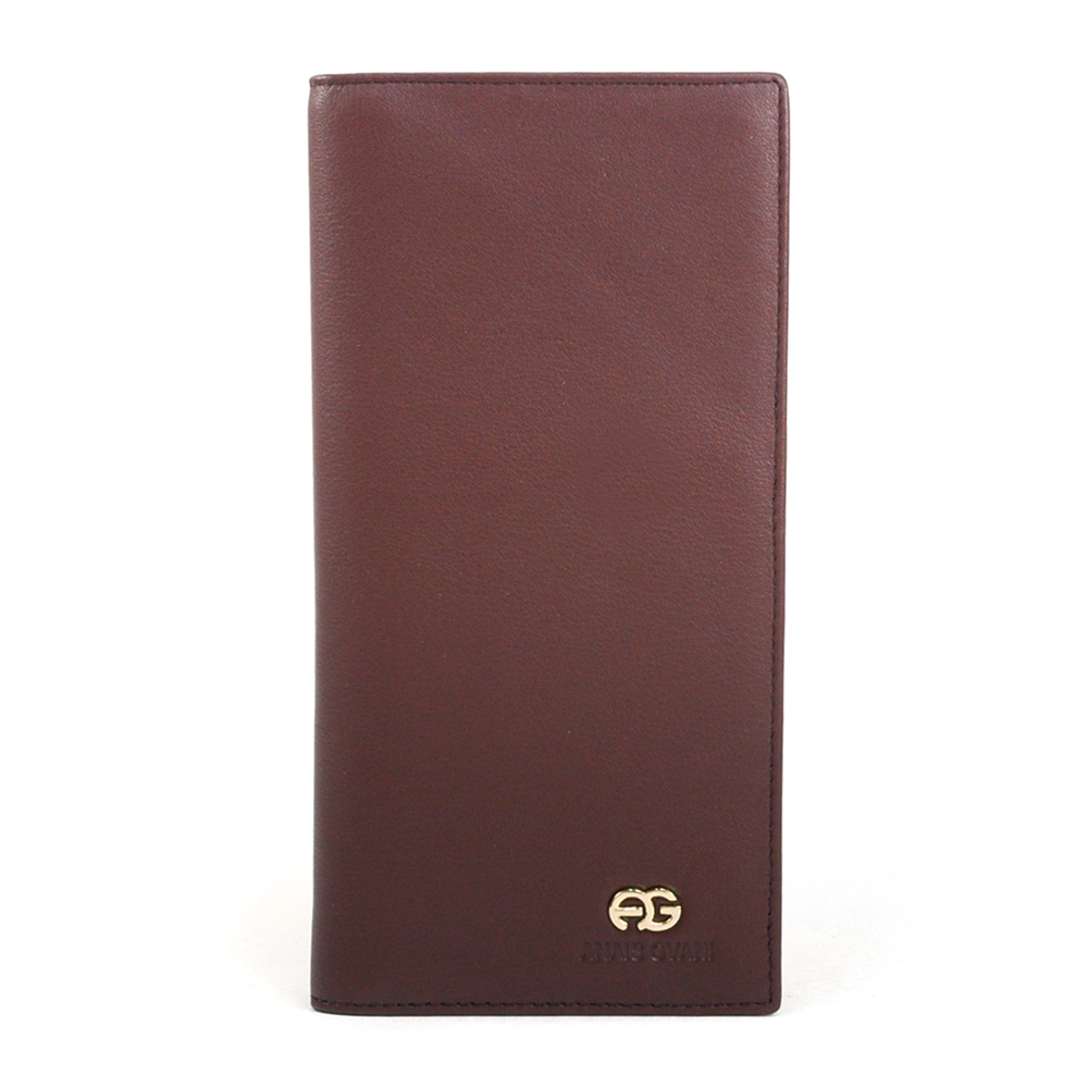 Brown Anais Gvani Men's Genuine Smooth Leather Long Bi-fold Wallet 
